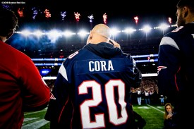 FOXBOROUGH, MA - NOVEMBER 4: Manager Alex Cora of the Boston Red Sox looks on during a pre-game ceremony before a game against the Green Bay Packers on November 4, 2018 at Gillette Stadium in Foxborough, Massachusetts. (Photo by Billie Weiss/Boston Red Sox/Getty Images) *** Local Caption *** Alex Cora