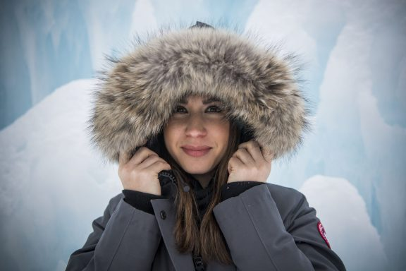 February 4, 2018, Lincoln, NH: Alaina Stipcak poses for a photograph at the Ice Castles in Lincoln, New Hampshire Sunday February 4, 2018. (Photo by Billie Weiss)