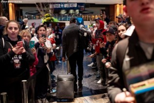 LEDYARD, CT - JANUARY 18: Xander Bogaerts #2 of the Boston Red Sox arrives during the 2019 Red Sox Winter Weekend on January 18, 2019 at Foxwoods Resort & Casino in Ledyard, Connecticut. (Photo by Billie Weiss/Boston Red Sox/Getty Images) *** Local Caption *** Xander Bogaerts
