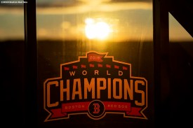 LEDYARD, CT - JANUARY 18: A Boston Red Sox world champions logo is displayed during the 2019 Red Sox Winter Weekend on January 18, 2019 at Foxwoods Resort & Casino in Ledyard, Connecticut. (Photo by Billie Weiss/Boston Red Sox/Getty Images) *** Local Caption ***