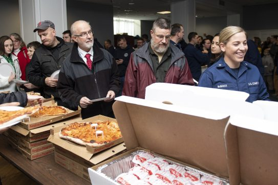 January 28, 2019 , Boston, MA: Food is distributed during an appreciation luncheon for close to 500 Massachusetts Coast Guard members and their families as a way to thank them for their service during the partial government shutdown at the Coast Guard Base in Boston, Massachusetts Monday, January 28, 2019. (Photo by Billie Weiss/Boston Red Sox)