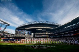 SEATTLE, WA - MARCH 28: Starting lineups are introduced before the 2019 Opening day game between the Boston Red Sox and the Seattle Mariners at T-Mobile Park in Seattle, Washington on March 28, 2019. (Photo by Billie Weiss/Boston Red Sox/Getty Images) *** Local Caption ***