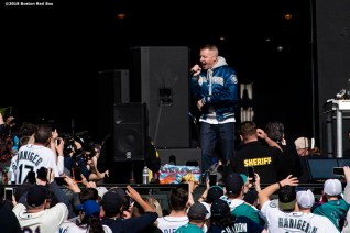 SEATTLE, WA - MARCH 28: Artist Macklemore performs before the 2019 Opening day game between the Boston Red Sox and the Seattle Mariners at T-Mobile Park in Seattle, Washington on March 28, 2019. (Photo by Billie Weiss/Boston Red Sox/Getty Images) *** Local Caption *** Macklemore