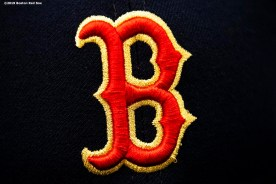 BOSTON, MA - APRIL 9: The gold trimmed logo of the Boston Red Sox is shown on a hat before the Opening Day game against the Toronto Blue Jays on April 9, 2019 at Fenway Park in Boston, Massachusetts. (Photo by Billie Weiss/Boston Red Sox/Getty Images) *** Local Caption ***