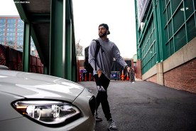 BOSTON, MA - APRIL 9: Blake Swihart #23 of the Boston Red Sox arrives before the Opening Day game against the Toronto Blue Jays on April 9, 2019 at Fenway Park in Boston, Massachusetts. (Photo by Billie Weiss/Boston Red Sox/Getty Images) *** Local Caption *** Blake Swihart