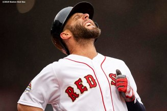 BOSTON, MA - APRIL 9: Dustin Pedroia #15 of the Boston Red Sox reacts during the fourth inning of the Opening Day game against the Toronto Blue Jays on April 9, 2019 at Fenway Park in Boston, Massachusetts. (Photo by Billie Weiss/Boston Red Sox/Getty Images) *** Local Caption *** Dustin Pedroia