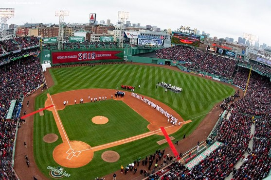 BOSTON, MA - APRIL 9: A general view during the Boston Red Sox 2018 World Series championship ring ceremony before the Opening Day game against the Toronto Blue Jays on April 9, 2019 at Fenway Park in Boston, Massachusetts. (Photo by Billie Weiss/Boston Red Sox/Getty Images) *** Local Caption ***