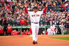 BOSTON, MA - APRIL 9: Manager Alex Cora of the Boston Red Sox is introduced during a 2018 World Series championship ring ceremony before the Opening Day game against the Toronto Blue Jays on April 9, 2019 at Fenway Park in Boston, Massachusetts. (Photo by Billie Weiss/Boston Red Sox/Getty Images) *** Local Caption *** Alex Cora