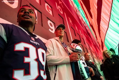 BOSTON, MA - APRIL 9: Rob Gronkowski of the New England Patriots looks on behind the Green Monster with the Vince Lombardi trophy during the Boston Red Sox 2018 World Series championship ring ceremony before the Opening Day game against the Toronto Blue Jays on April 9, 2019 at Fenway Park in Boston, Massachusetts. (Photo by Billie Weiss/Boston Red Sox/Getty Images) *** Local Caption *** Rob Gronkowski