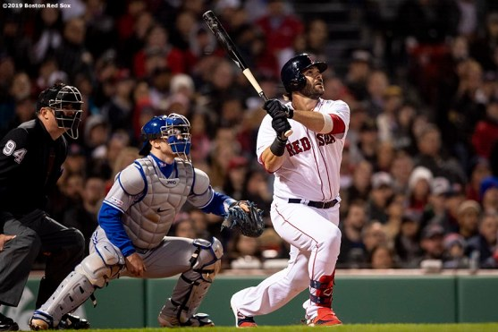 BOSTON, MA - APRIL 11: Mitch Moreland #18 of the Boston Red Sox hits a game tying solo home run during the seventh inning of a game against the Toronto Blue Jays on April 11, 2019 at Fenway Park in Boston, Massachusetts. (Photo by Billie Weiss/Boston Red Sox/Getty Images) *** Local Caption *** Mitch Moreland