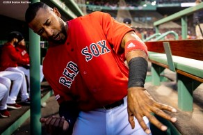 BOSTON, MA - APRIL 12: Eduardo Nunez #36 of the Boston Red Sox reacts before a game against the Baltimore Orioles on April 12, 2019 at Fenway Park in Boston, Massachusetts. (Photo by Billie Weiss/Boston Red Sox/Getty Images) *** Local Caption *** Eduardo Nunez