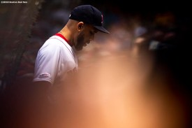 BOSTON, MA - APRIL 14: David Price #10 of the Boston Red Sox looks on during the first inning of a game against the Baltimore Orioles on April 14, 2019 at Fenway Park in Boston, Massachusetts. (Photo by Billie Weiss/Boston Red Sox/Getty Images) *** Local Caption *** David Price