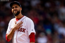 BOSTON, MA - APRIL 14: David Price #10 of the Boston Red Sox reacts during the seventh inning of a game against the Baltimore Orioles on April 14, 2019 at Fenway Park in Boston, Massachusetts. (Photo by Billie Weiss/Boston Red Sox/Getty Images) *** Local Caption *** David Price