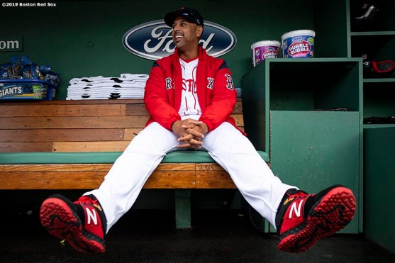 BOSTON, MA - APRIL 15: Manager Alex Cora of the Boston Red Sox reacts before a game against the Baltimore Orioles on April 15, 2019 at Fenway Park in Boston, Massachusetts. (Photo by Billie Weiss/Boston Red Sox/Getty Images) *** Local Caption *** Alex Cora