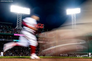 BOSTON, MA - APRIL 25: Mookie Betts #50 of the Boston Red Sox runs off the field during the sixth inning of a game against the Detroit Tigers on April 25, 2019 at Fenway Park in Boston, Massachusetts. (Photo by Billie Weiss/Boston Red Sox/Getty Images) *** Local Caption *** Mookie Betts