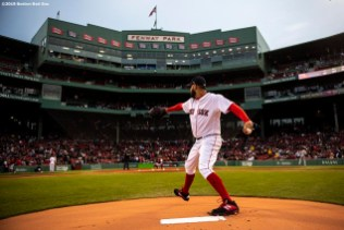 BOSTON, MA - APRIL 29: Eduardo Rodriguez #57 of the Boston Red Sox warms up before a game against the Oakland Athletics on April 29, 2019 at Fenway Park in Boston, Massachusetts. (Photo by Billie Weiss/Boston Red Sox/Getty Images) *** Local Caption *** Eduardo Rodriguez