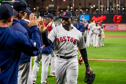 BALTIMORE, MD - MAY 8: Jackie Bradley Jr. #19 of the Boston Red Sox celebrates a victory against the Baltimore Orioles on May 8, 2019 at Oriole Park at Camden Yards in Baltimore, Maryland. (Photo by Billie Weiss/Boston Red Sox/Getty Images) *** Local Caption *** Jackie Bradley Jr.