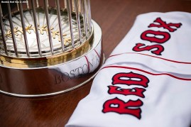 WASHINGTON, DC - MAY 9: The 2018 World Series trophy is displayed during the Boston Red Sox visit to the White House in recognition of the 2018 World Series championship on May 9, 2019 in Washington, DC. (Photo by Billie Weiss/Boston Red Sox/Getty Images) *** Local Caption ***