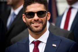 WASHINGTON, DC - MAY 9: J.D. Martinez #28 of the Boston Red Sox reacts during a visit to the White House in recognition of the 2018 World Series championship on May 9, 2019 in Washington, DC. (Photo by Billie Weiss/Boston Red Sox/Getty Images) *** Local Caption *** J.D. Martinez