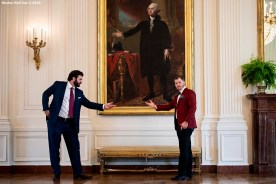 WASHINGTON, DC - MAY 9: Mitch Moreland #18 and Brock Holt #12 of the Boston Red Sox pose for a photograph with a portrait of George Washington during a visit to the White House in recognition of the 2018 World Series championship on May 9, 2019 in Washington, DC. (Photo by Billie Weiss/Boston Red Sox/Getty Images) *** Local Caption *** Mitch Moreland; Brock Holt