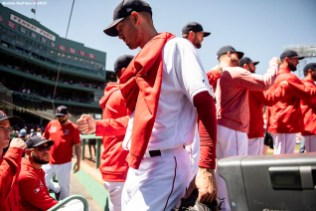BOSTON, MA - MAY 11: Rick Porcello #22 of the Boston Red Sox high fives teammates before a game against the Seattle Mariners on May 11, 2019 at Fenway Park in Boston, Massachusetts. (Photo by Billie Weiss/Boston Red Sox/Getty Images) *** Local Caption *** Rick Porcello
