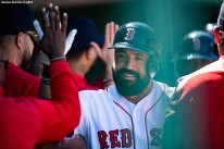 BOSTON, MA - MAY 11: Sandy Leon #3 of the Boston Red Sox high fives teammates after hitting a three run home run. during the third inning of a game against the Seattle Mariners on May 11, 2019 at Fenway Park in Boston, Massachusetts. (Photo by Billie Weiss/Boston Red Sox/Getty Images) *** Local Caption *** Sandy Leon