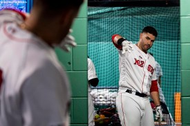 BOSTON, MA - MAY 18: J.D. Martinez #28 of the Boston Red Sox practices swings in the mirror before a game against the Houston Astros on May 18, 2019 at Fenway Park in Boston, Massachusetts. (Photo by Billie Weiss/Boston Red Sox/Getty Images) *** Local Caption *** J.D. Martinez