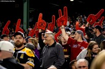 BOSTON, MA - MAY 18: Fans of the Boston Red Sox wave foam fingers during the eighth inning of a game against the Houston Astros on May 18, 2019 at Fenway Park in Boston, Massachusetts. (Photo by Billie Weiss/Boston Red Sox/Getty Images) *** Local Caption ***