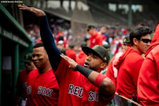 BOSTON, MA - MAY 19: Eduardo Nunez #36 of the Boston Red Sox reacts before a game against the Houston Astros on May 19, 2019 at Fenway Park in Boston, Massachusetts. (Photo by Billie Weiss/Boston Red Sox/Getty Images) *** Local Caption *** Eduardo Nunez