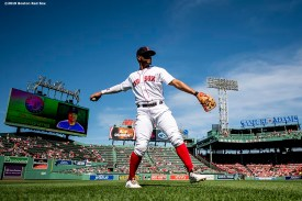 BOSTON, MA - JUNE 12: Xander Bogaerts #2 of the Boston Red Sox warms up before a game against the Texas Rangers on June 12, 2019 at Fenway Park in Boston, Massachusetts. (Photo by Billie Weiss/Boston Red Sox/Getty Images) *** Local Caption *** Xander Bogaerts