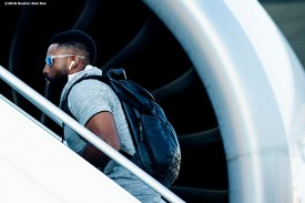 BOSTON, MA - JUNE 26: Jackie Bradley Jr. #19 of the Boston Red Sox boards the plane as the team travels to London ahead of the 2019 Major League Baseball London Series on June 26, 2019 in Boston, Massachusetts. (Photo by Billie Weiss/Boston Red Sox/Getty Images) *** Local Caption *** Jackie Bradley Jr.