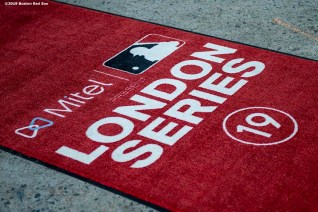 BOSTON, MA - JUNE 26: A logo is displayed as the Boston Red Sox board the plane as the team travels to London ahead of the 2019 Major League Baseball London Series on June 26, 2019 in Boston, Massachusetts. (Photo by Billie Weiss/Boston Red Sox/Getty Images) *** Local Caption ***