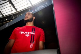 LONDON, ENGLAND - JUNE 28 : Eduardo Rodriguez #57 of the Boston Red Sox looks on during a team workout ahead of the 2019 Major League Baseball London Series on June 28, 2019 at West Ham London Stadium in London, England. (Photo by Billie Weiss/Boston Red Sox/Getty Images) *** Local Caption *** Eduardo Rodriguez