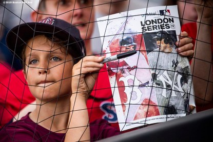 LONDON, ENGLAND - JUNE 28 : A fan looks on during a Boston Red Sox team workout ahead of the 2019 Major League Baseball London Series on June 28, 2019 at West Ham London Stadium in London, England. (Photo by Billie Weiss/Boston Red Sox/Getty Images) *** Local Caption ***