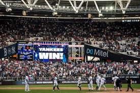 LONDON, ENGLAND - JUNE 30: Members of the New York Yankees celebrate a victory in game two of the 2019 Major League Baseball London Series against the Boston Red Sox on June 30, 2019 at West Ham London Stadium in London, England. (Photo by Billie Weiss/Boston Red Sox/Getty Images) *** Local Caption ***