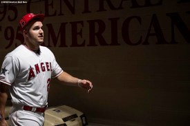 CLEVELAND, OH - JULY 08: Mike Trout #27 of the Los Angeles Angels of Anaheim walks through the tunnel before the T-Mobile Home Run Derby during the 2019 Major League Baseball All-Star Game at Progressive Field on July 8, 2019 in Cleveland, Ohio. (Photo by Billie Weiss/Boston Red Sox/Getty Images) *** Local Caption *** Mike Trout