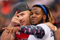 CLEVELAND, OH - JULY 08: Mike Trout #27 of the Los Angeles Angels of Anaheim reacts with Vladimir Guerrero Jr. #27 of the Toronto Blue Jays during the T-Mobile Home Run Derby during the 2019 Major League Baseball All-Star Game at Progressive Field on July 8, 2019 in Cleveland, Ohio. (Photo by Billie Weiss/Boston Red Sox/Getty Images) *** Local Caption *** Vladimir Guerrero Jr.; Mike Trout
