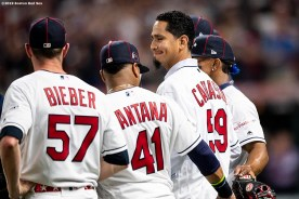 CLEVELAND, OH - JULY 09: Teammates look on as Carlos Carrasco #59 of the Cleveland Indians is recognized during a Stand Up To Cancer ceremony during the 2019 Major League Baseball All-Star Game at Progressive Field on July 9, 2019 in Cleveland, Ohio. (Photo by Billie Weiss/Boston Red Sox/Getty Images) *** Local Caption *** Carlos Carrasco