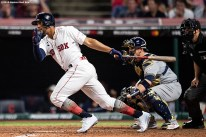 CLEVELAND, OH - JULY 09: Xander Bogaerts #2 of the Boston Red Sox hits an RBI fielder's choice during the seventh inning of the 2019 Major League Baseball All-Star Game at Progressive Field on July 9, 2019 in Cleveland, Ohio. (Photo by Billie Weiss/Boston Red Sox/Getty Images) *** Local Caption *** Xander Bogaerts