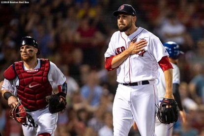 BOSTON, MA - JULY 17: Matt Barnes #32 of the Boston Red Sox reacts with Christian Vazquez #7 during the seventh inning of a game against the Toronto Blue Jays on July 17, 2019 at Fenway Park in Boston, Massachusetts. (Photo by Billie Weiss/Boston Red Sox/Getty Images) *** Local Caption *** Matt Barnes; Christian Vazquez