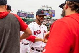 BOSTON, MA - JULY 18: Xander Bogaerts #2 of the Boston Red Sox high fives teammates after a victory against the Toronto Blue Jays on July 18, 2019 at Fenway Park in Boston, Massachusetts. (Photo by Billie Weiss/Boston Red Sox/Getty Images) *** Local Caption *** Xander Bogaerts