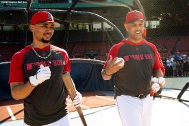 BOSTON, MA - JULY 25: Mookie Betts #50 reacts with manager Alex Cora of the Boston Red Sox before a game against the New York Yankees on July 25, 2019 at Fenway Park in Boston, Massachusetts. (Photo by Billie Weiss/Boston Red Sox/Getty Images) *** Local Caption *** Mookie Betts; Alex Cora