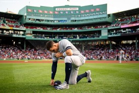 BOSTON, MA - JULY 25: Aaron Judge #99 of the Boston Red Sox reacts before a game against the Boston Red Sox on July 25, 2019 at Fenway Park in Boston, Massachusetts. (Photo by Billie Weiss/Boston Red Sox/Getty Images) *** Local Caption *** Aaron Judge