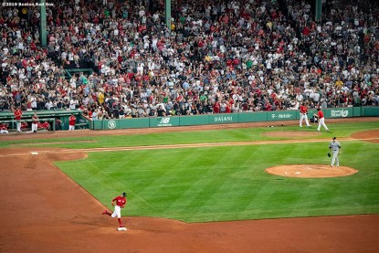 BOSTON, MA - JULY 26: Mookie Betts #50 of the Boston Red Sox rounds the bases after hitting a solo home run during the third inning of a game against the New York Yankees on July 26, 2019 at Fenway Park in Boston, Massachusetts. It was his second home run of the game. (Photo by Billie Weiss/Boston Red Sox/Getty Images) *** Local Caption *** Mookie Betts