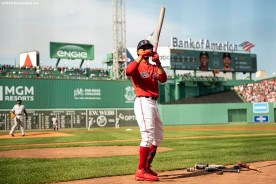 BOSTON, MA - JULY 27: Mookie Betts #50 of the Boston Red Sox reacts before a game against the New York Yankees on July 27, 2019 at Fenway Park in Boston, Massachusetts. (Photo by Billie Weiss/Boston Red Sox/Getty Images) *** Local Caption *** Mookie Betts