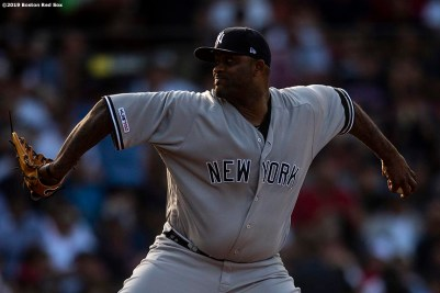 BOSTON, MA - JULY 27: CC Sabathia #52 of the New York Yankees delivers during the fifth inning of a game against the Boston Red Sox on July 27, 2019 at Fenway Park in Boston, Massachusetts. (Photo by Billie Weiss/Boston Red Sox/Getty Images) *** Local Caption *** CC Sabathia