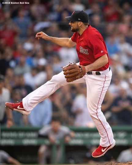 BOSTON, MA - JULY 27: Nathan Eovaldi #17 of the Boston Red Sox delivers during the eighth inning of a game against the New York Yankees on July 27, 2019 at Fenway Park in Boston, Massachusetts. (Photo by Billie Weiss/Boston Red Sox/Getty Images) *** Local Caption *** Nathan Eovaldi