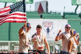 July 27, 2019 , Boston, MA: Runners cross home plate during the 2019 Run to Home Base presented by New Balance at Fenway Park in Boston, Massachusetts Saturday, July 27, 2019. (Photo by Billie Weiss/Home Base)