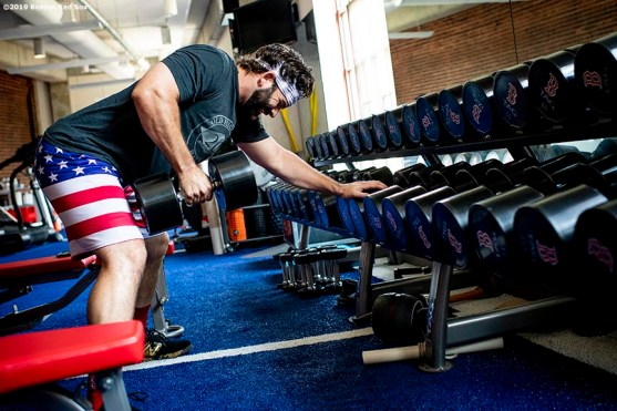 BOSTON, MA - JULY 28: Mitch Moreland #18 of the Boston Red Sox lifts weights in the weight room before a game against the New York Yankees on July 28, 2019 at Fenway Park in Boston, Massachusetts. (Photo by Billie Weiss/Boston Red Sox/Getty Images) *** Local Caption *** Mitch Moreland