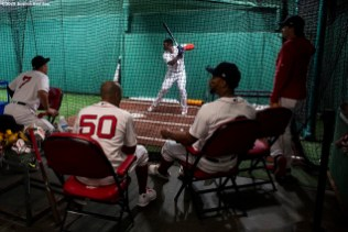 BOSTON, MA - JULY 28: Rafael Devers #11 of the Boston Red Sox takes batting practice in the cage before a game against the New York Yankees on July 28, 2019 at Fenway Park in Boston, Massachusetts. (Photo by Billie Weiss/Boston Red Sox/Getty Images) *** Local Caption *** Rafael Devers